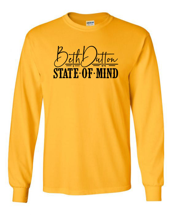 BETH DUTTON STATE OF MIND - MUSTARD LONG SLEEVE TEE*