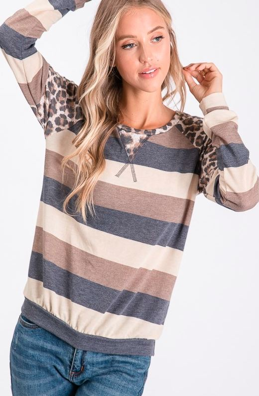 NAVY & TAN LEOPARD SWEATER TOP