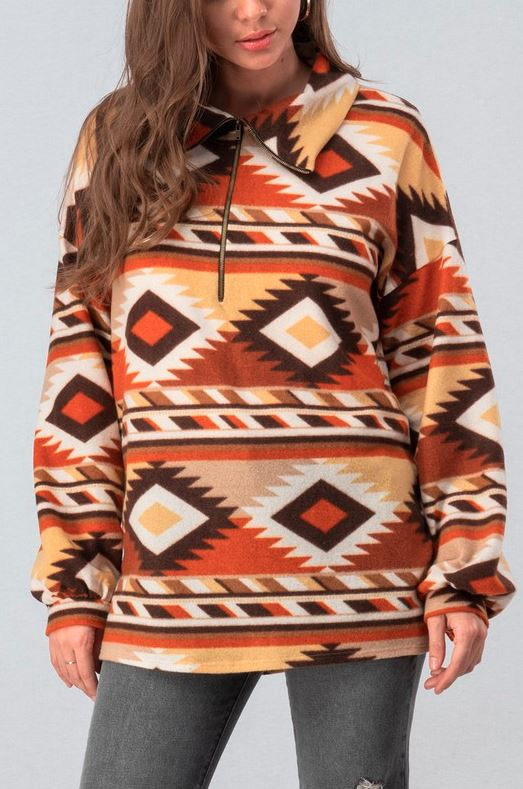 BROWN TRIBAL PRINT HALF ZIP FLEECE