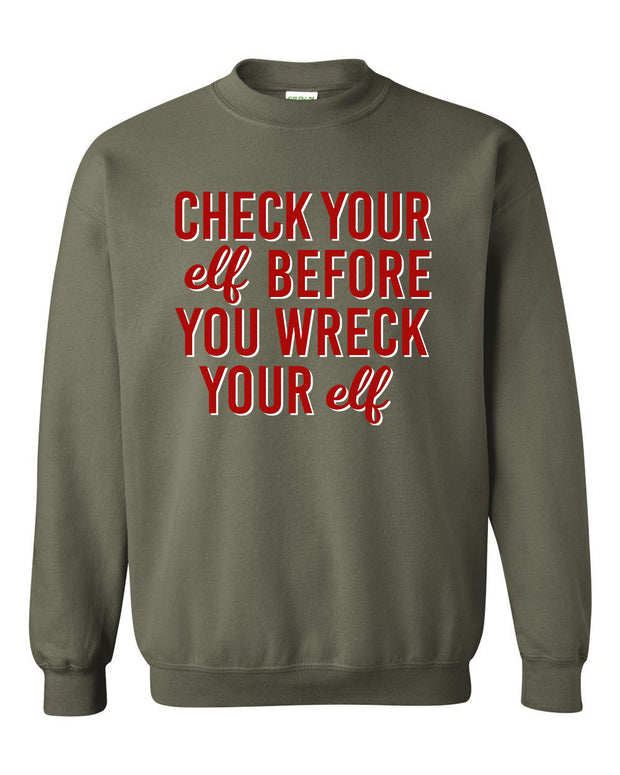 CHECK YOUR ELF - OLIVE PULLOVER*