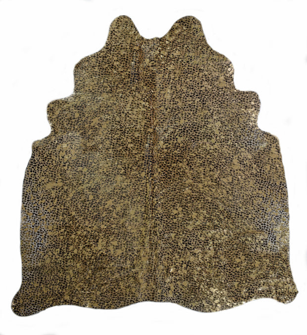 CHEETAH WITH GOLD BURNOUT COWHIDE RUG