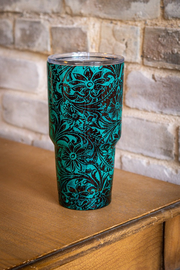 TURQUOISE TOOLED LEATHER PRINT TUMBLER