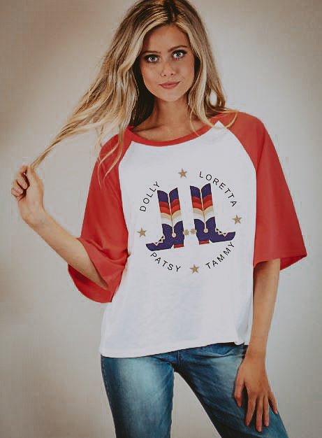 LADY LEGENDS RED BELL SLEEVE RAGLAN