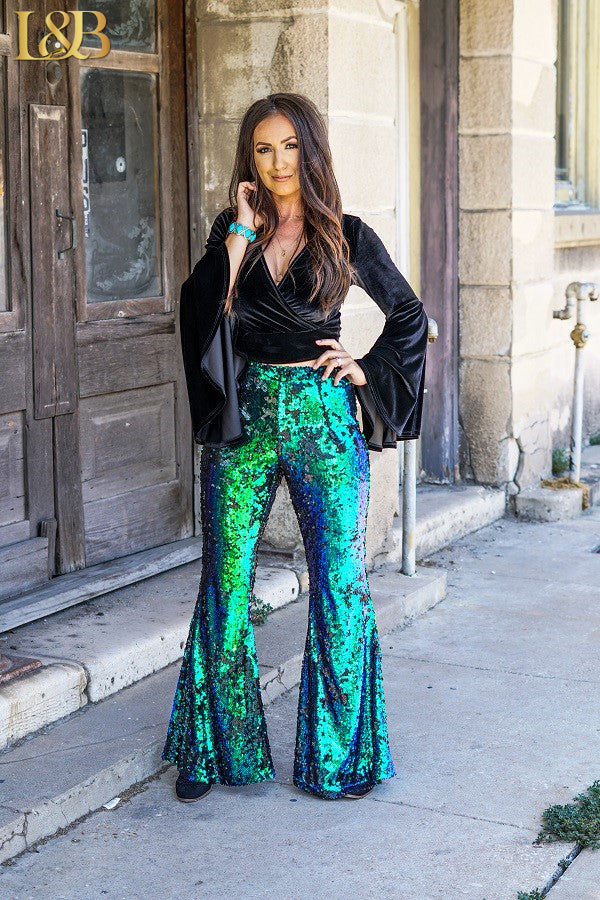 JADE SEQUIN FLARE PANTS