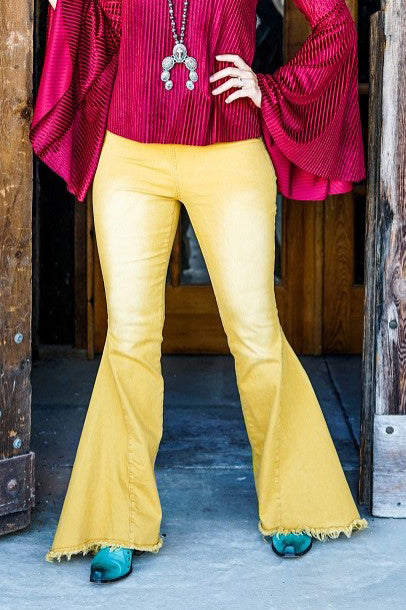 MUSTARD HIGH WAISTED BELL BOTTOM JEANS