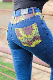 SUNFLOWER LEOPARD DENIM BOOTCUT JEANS