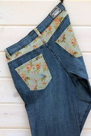 FLORAL DENIM JEANS - YOUTH