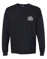 GET KNOCKED DOWN 7 GET UP 8 - LONGSLEEVE BLACK POCKET TEE