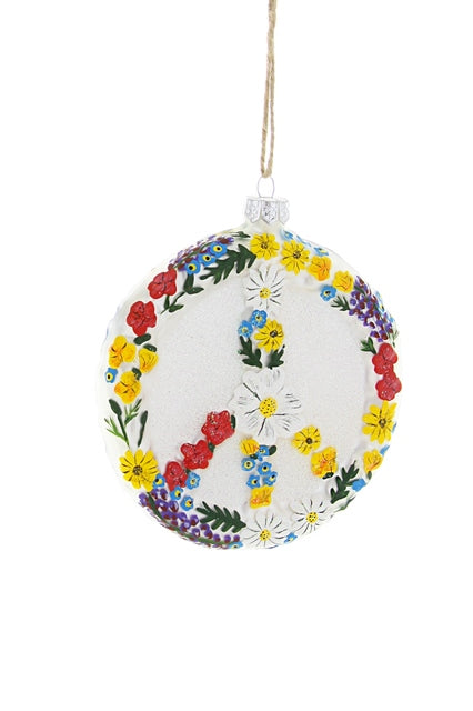 FLORAL PEACE SIGN ORNAMENT