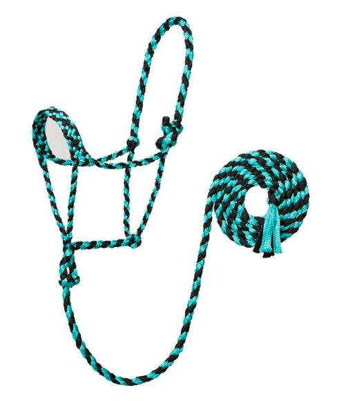 MINT/BLACK BRAIDED ROPE HALTER