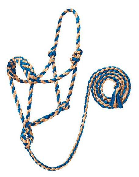 BLUE/TAN BRAIDED ROPE HALTER