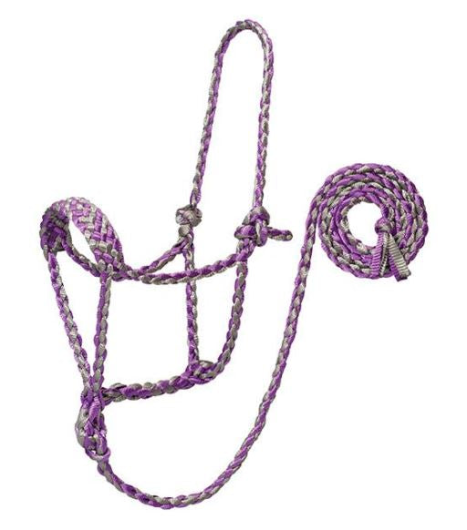 PURPLE / GREY BRAIDED ROPE HALTER