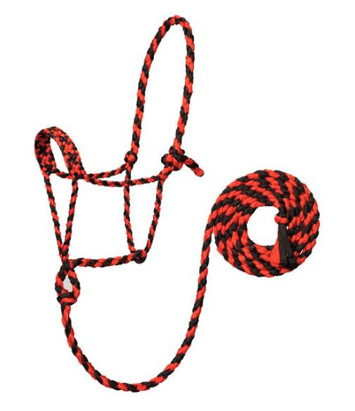 RED/BLACK BRAIDED ROPE HALTER