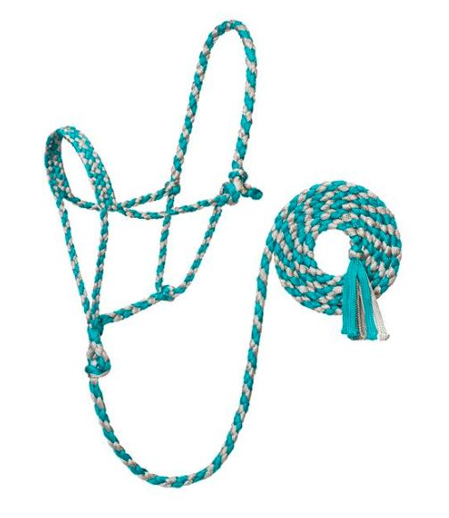 TURQUOISE/GREY BRAIDED ROPE HALTER