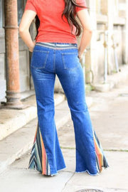 DENIM JEANS WITH SERAPE INSERT