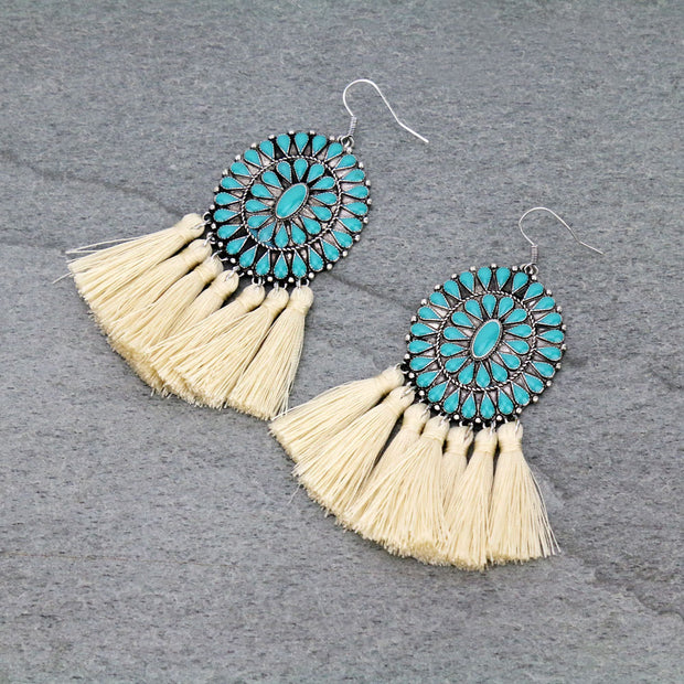 CASSIDY CONCHO FRINGE EARRINGS