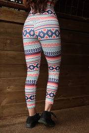 PEACH AZTEC LEGGINGS