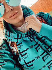 FALLON TAYLOR LOGO HOODIE (TURQUOISE)