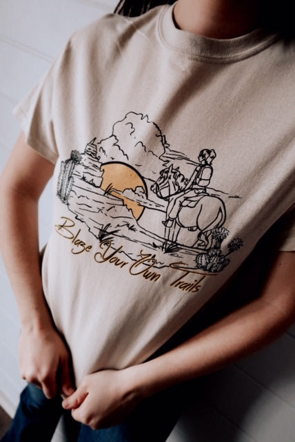 BLAZE YOUR OWN TRAILS - SAND TEE