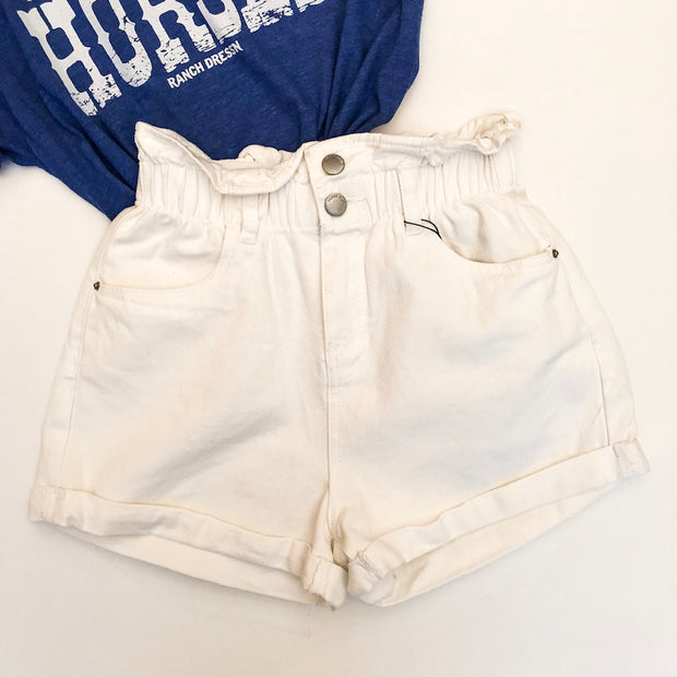 OFF WHITE ELASTIC WAIST DENIM SHORTS