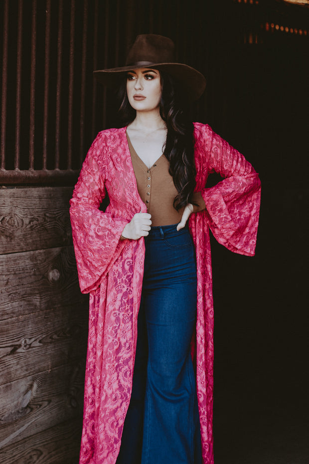 FUCHSIA LACE BELL DUSTER
