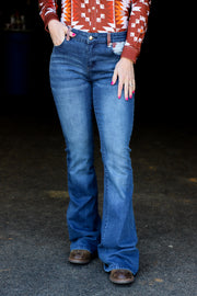 COWHIDE DENIM BOOT CUT JEANS