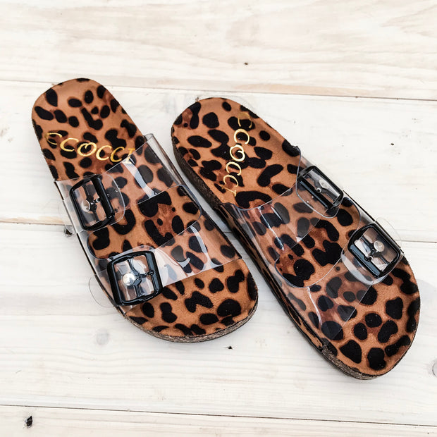 LEOPARD CLEAR SANDALS