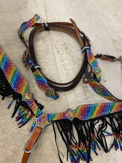 HOLOGRAPHIC RAINBOW FRINGE TACK SET