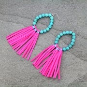 TURQUOISE HOT PINK LEATHER TASSEL EARRINGS