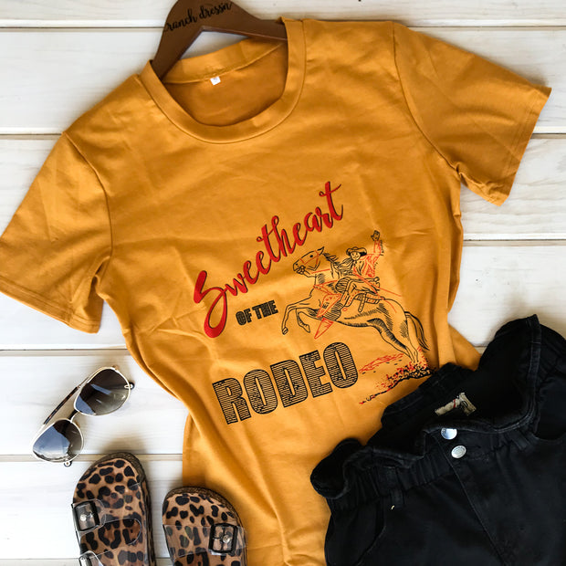 SWEETHEART OF THE RODEO MUSTARD TEE