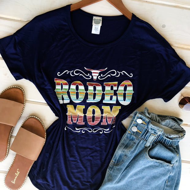 RODEO MOM NAVY TEE