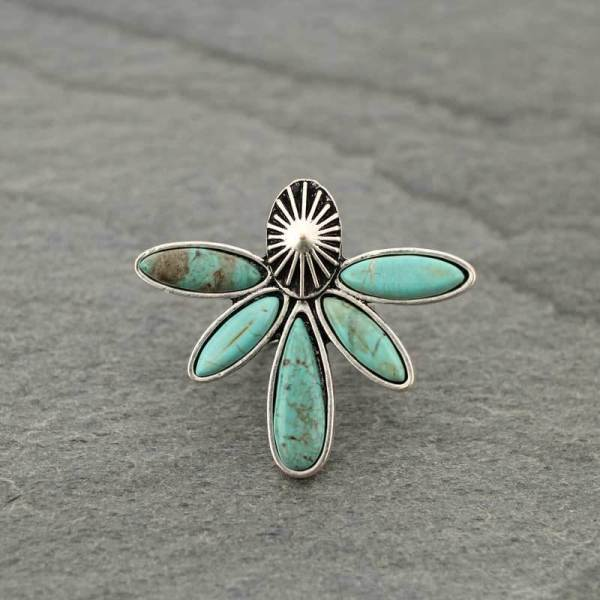 FLORA TURQUOISE ADJUSTABLE RING