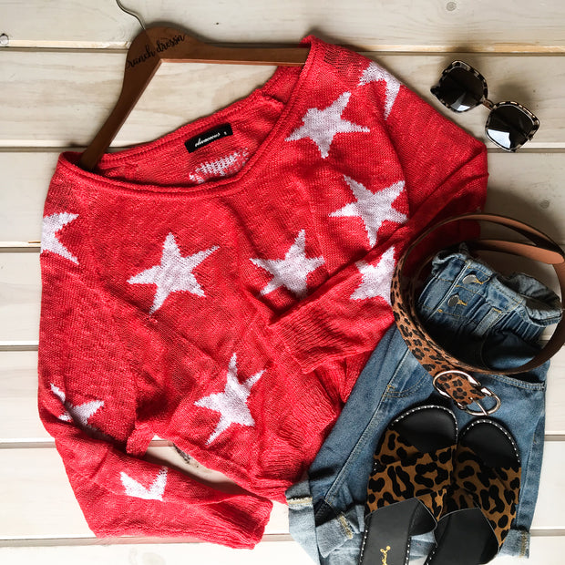 KNIT STARS CROPPED SWEATER