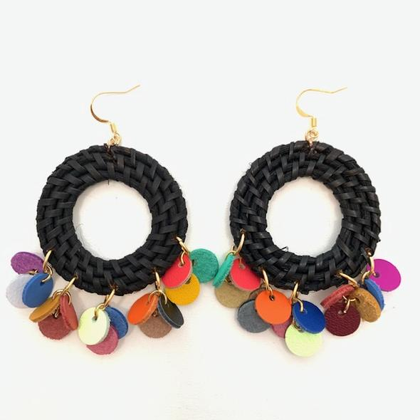 Felicia Black Earrings- Multi Color