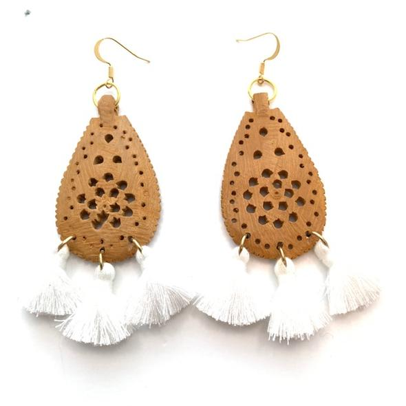 Mira Light Sandalwood Earrings - White