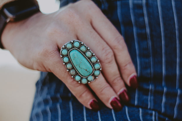 TURQUOISE OVAL BUBBLE ADJUSTABLE RING