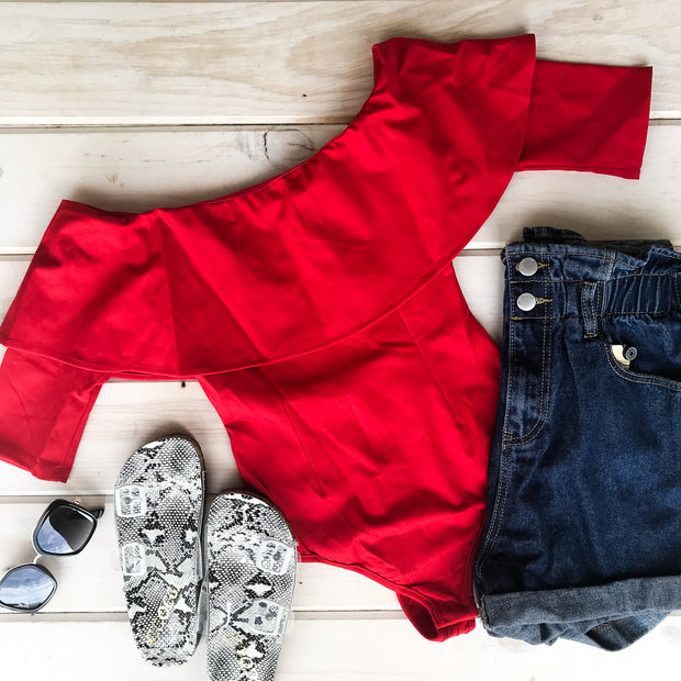 RED RUFFLE BODYSUIT