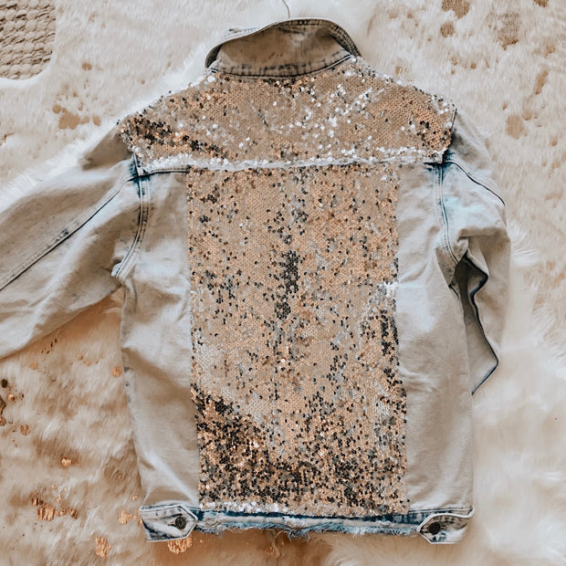 SILVER SEQUIN DISTRESSED DENIM JACKET