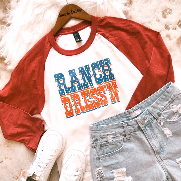 RANCH DRESS'N PATRIOTIC - RED BASEBALL TEE