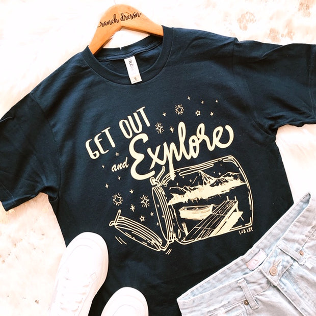 GET OUT AND EXPLORE - NAVY TEE