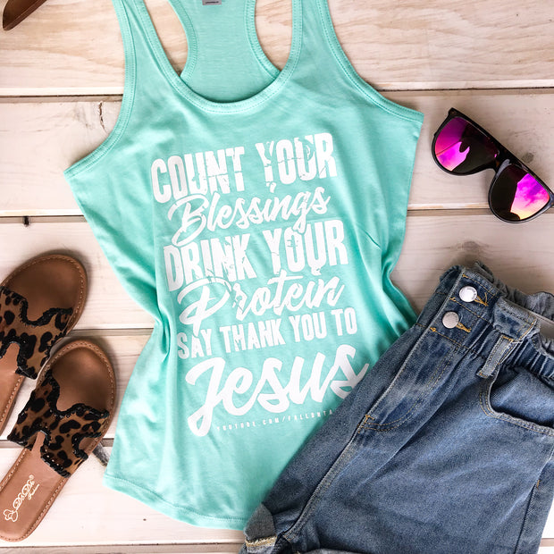 COUNT YOUR BLESSINGS - MINT TANK