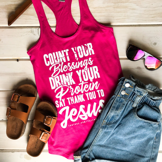 COUNT YOUR BLESSINGS - HOT PINK TANK