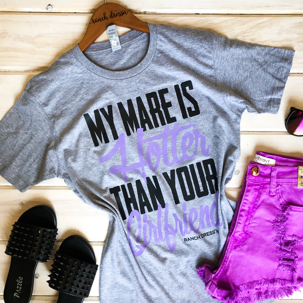 MY MARE IS CUTER THAN YOUR GIRLFRIEND - GRAY TEE