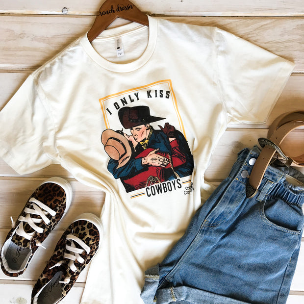 I ONLY KISS COWBOYS - CREAM TEE