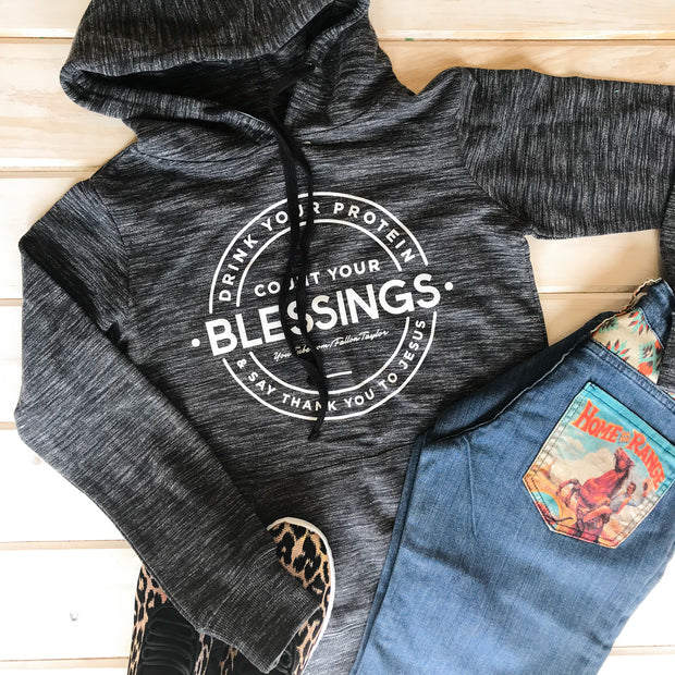 COUNT YOUR BLESSINGS - TRI BLEND GRAY HOODIE
