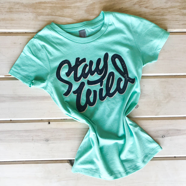 STAY WILD - MINT YOUTH TEE