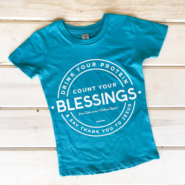 COUNT YOUR BLESSINGS - TEAL YOUTH TEE