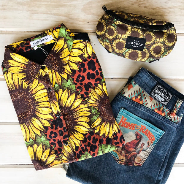 SUNFLOWER & LEOPARD RODEO SHIRT (YOUTH)