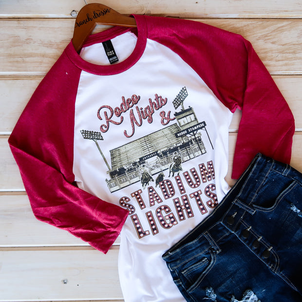 RODEO NIGHT STADIUM LIGHTS - RED BASEBALL TEE*