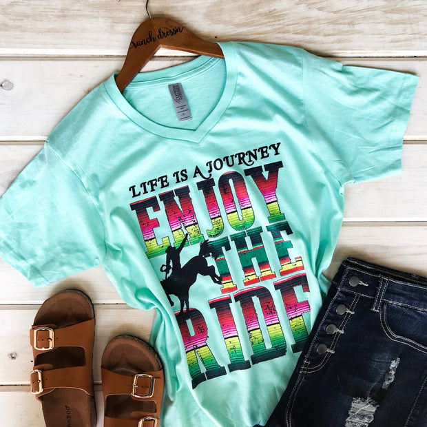 ENJOY THE RIDE - MINT V-NECK TEE*